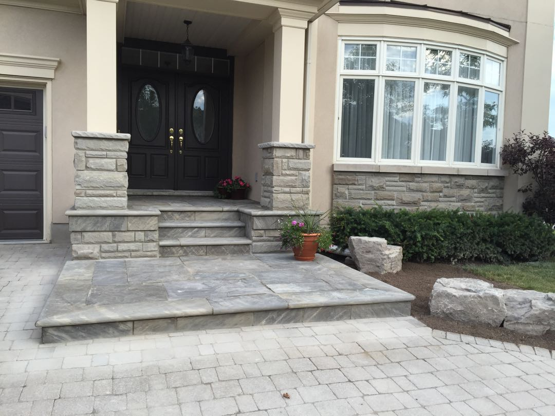 Flagstone landing and entrance